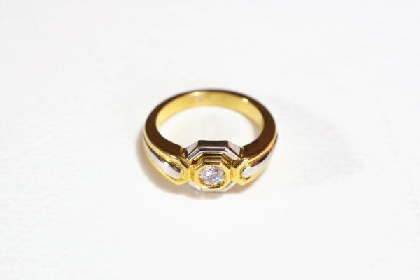 bague or recyclé diamant solitaire mariage