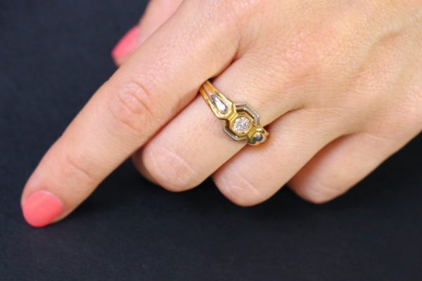 vintage diamond ring brilliant cut recycled gold wedding ring