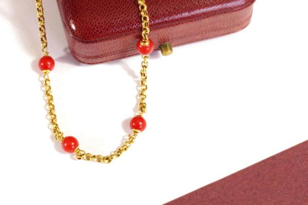 bracelet corail et or jaune 18k