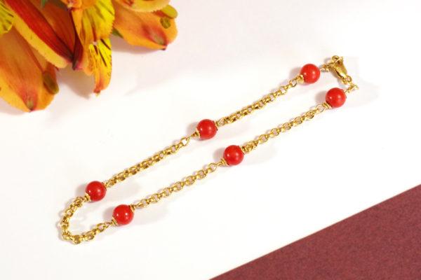 antique coral bracelet gold 18k
