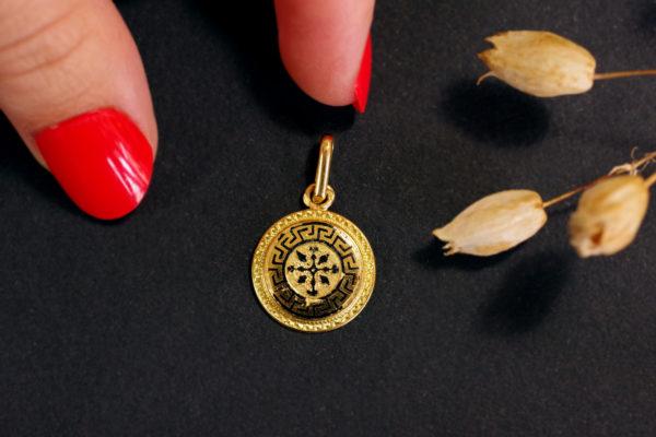 vintage cross circular pendant