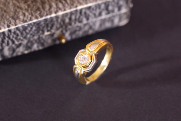 solitaire diamond ring recycled gold wedding ring