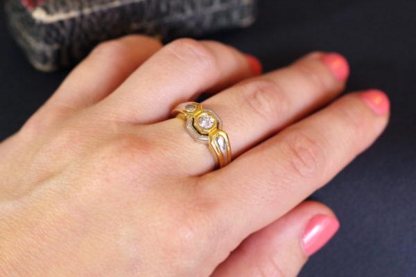 bague solitaire diamant mariage or jaune or blanc